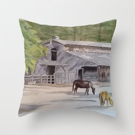 Old Horse Barn Throw Pillow