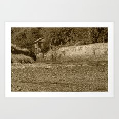 Stepping Stones Sepia Art Print