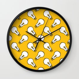 Cartoon light bulbs white on orange Wall Clock