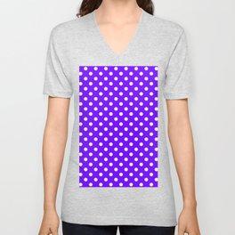 Small Polka Dots - White on Indigo Violet Unisex V-Neck