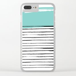 Lines in Black and Turquoise Clear iPhone Case