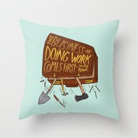 mike wrobel Throw Pillows featuring Mike Rowe by Josh LaFayette