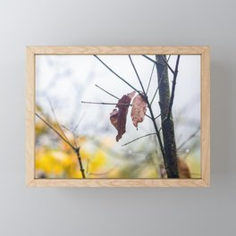 Orange leaves, trying to stay alive Framed Mini Art Print