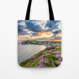 Freshwater Bay Sea Thrift Sunset (V) Tote Bag