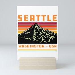 Retro Seattle Washington State Souvenir Mountain Mini Art Print
