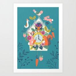 Cuckoo (Teal) Art Print