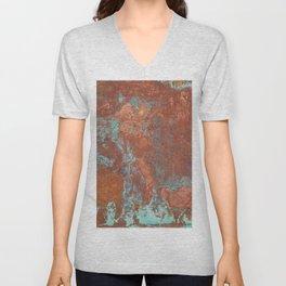 Tarnished Metal Copper Texture - Natural Marbling Industrial Art Unisex V-Neck