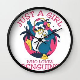 Just A Girl Who Loves Penguins Wall Clock