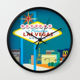 Las Vegas, Nevada - Skyline Illustration by Loose Petals Wall Clock
