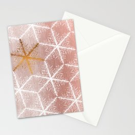 Elegant Geometric Gold Snowflakes Holiday Pattern Stationery Cards
