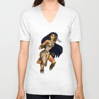 pocahontas V-neck T-shirts featuring Steampunk Pocahontas by Hungry Designs