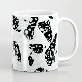 Triple Terrazzo - Mint Green Black & White Modern Speckle Pattern Coffee Mug