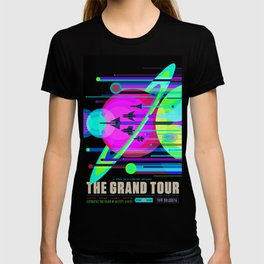 NASA Outer Space Saturn Shuttle Retro Poster Futuristic Explorer Black Best Quality T-shirt