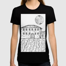 Italian Vintage Night - Countryside Landscape Black White T-shirt