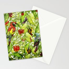 My tropical Summer Flowers and Birds Garden - Jungle Pattern Stationery Cards