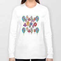 lantern Long Sleeve T-shirts featuring Chinese lantern by Helene Michau