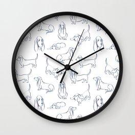 Basset Hounds Pattern Wall Clock