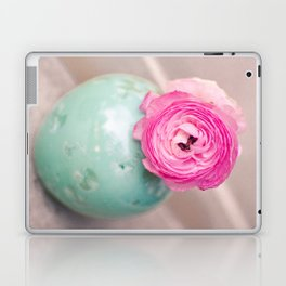 Hot pink ranunculus flowers mint green vintage 1 Laptop & iPad Skin