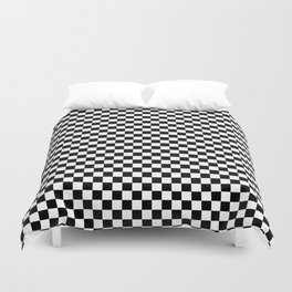 Classic Black and White Checkerboard Repeating Pattern Duvet Cover