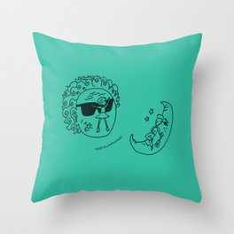 Sun & Moon, Aqua Throw Pillow
