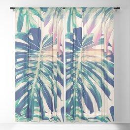 Monstera Leaves Sheer Curtain