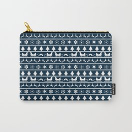 Midnight Blue & White Christmas Sweater Knit Pattern Carry-All Pouch