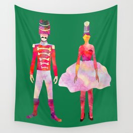 Nutcracker Ballet - Candy Cane Green Wall Tapestry