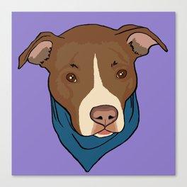 Pit Bull wearing Bandana Purple Canvas Print
