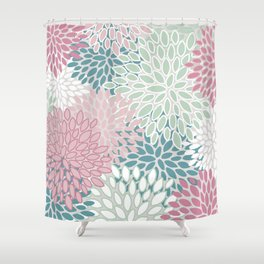 Floral Blooms, Soft Pink, Green and Teal, Design Prints Shower Curtain