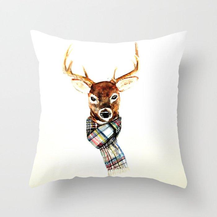 Deer buck with winter scarf - watercolor Throw Pillow