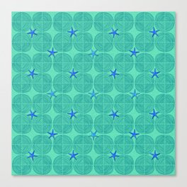 Blue starfish on green sand Canvas Print