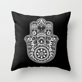 Black and White Hamsa Hand Throw Pillow