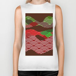 scales simple Nature background with japanese wave circle pattern dark brown burgundy maroon green Biker Tank