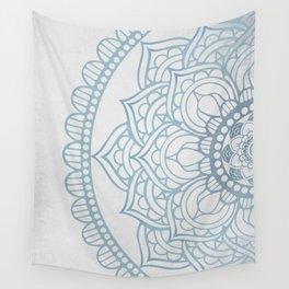Light Gray Blue Mandala Wall Tapestry