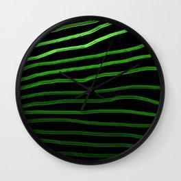 Shaded Green Hand-Drawn Lines Wall Clock