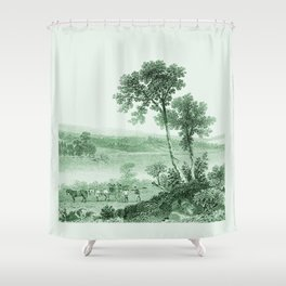 Vintage Lake Champlain  (Green) Shower Curtain
