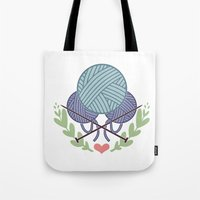 knitting Tote Bags featuring Knitting by boots