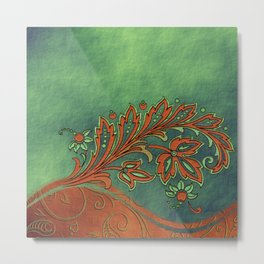 Baroque Bronzed Teal Flowers Metal Print