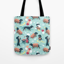 Hot dogs and lemonade // aqua background navy dachshunds Tote Bag