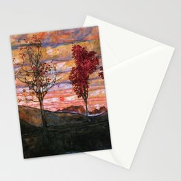 Quatre arbres (Group of Four Trees), Autumn Sunset by Egon Schiele Stationery Cards