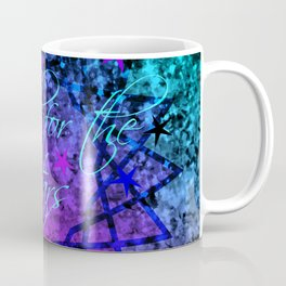 REACH FOR THE STARS Bold Midnight Blue Purple, Galactic Stars Space Abstract Fine Art Painting Coffee Mug