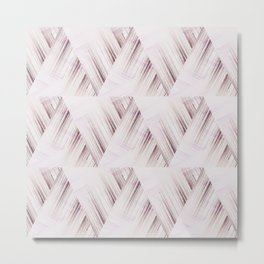 Abstract geometric pattern.Pinkish beige striped triangles . Metal Print