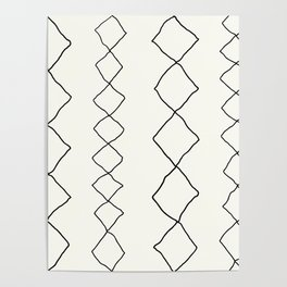 Moroccan Diamond Stripe in Black and White Poster