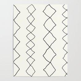 Moroccan Diamond Stripe in Black and White Poster