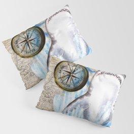 Great White Shark Compass Vintage Map Pillow Sham