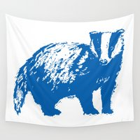 badger Wall Tapestries featuring Blue Badger by Frances Roughton