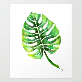 Monstera Green Leaf Art Print