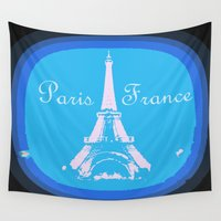 france Wall Tapestries featuring Paris France by Whimsy Romance & Fun