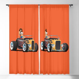 Custom Hot Rod Roadster Car with Flames and Sexy Woman Blackout Curtain