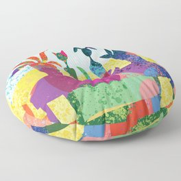 Cat and Dog Abstract Still Life Floor Pillow